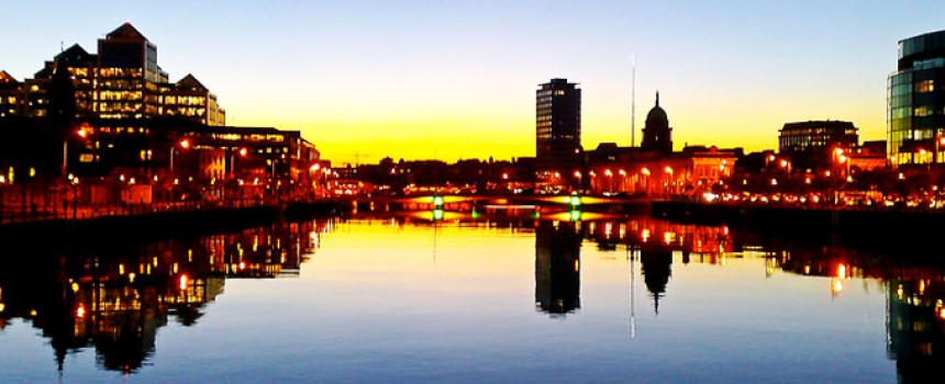 Liffey Sunset at Dublin in Ireland