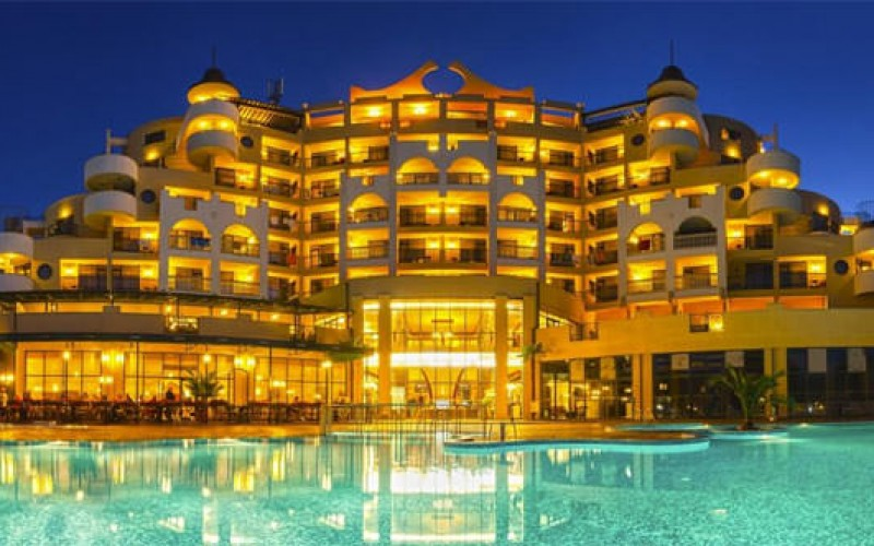 Evening View of Imperial Hotel in Sunny Beach, Bulgaria