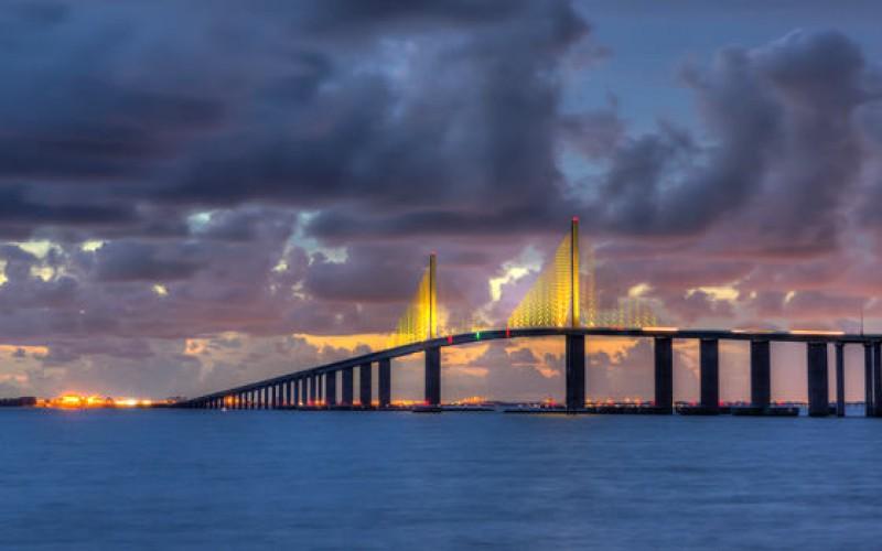 Tampa Skyway Bridge Sunset