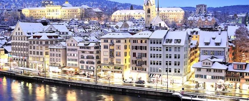 Blue winter in Zurich
