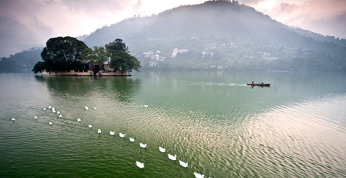 Bhimtal lake in Uttarakhand