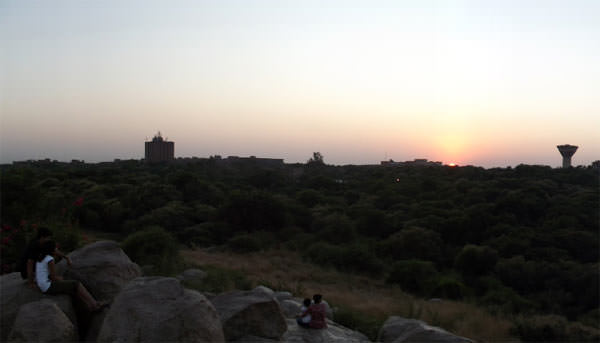 A view of JNU from Parthasarathy Rocks at sunset