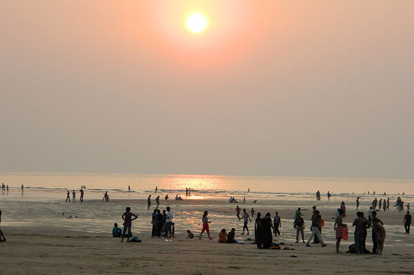 Aksa Beach and Sunset View during evening in Mumbai