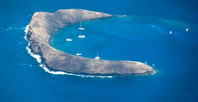 Molokini from the air in Maui