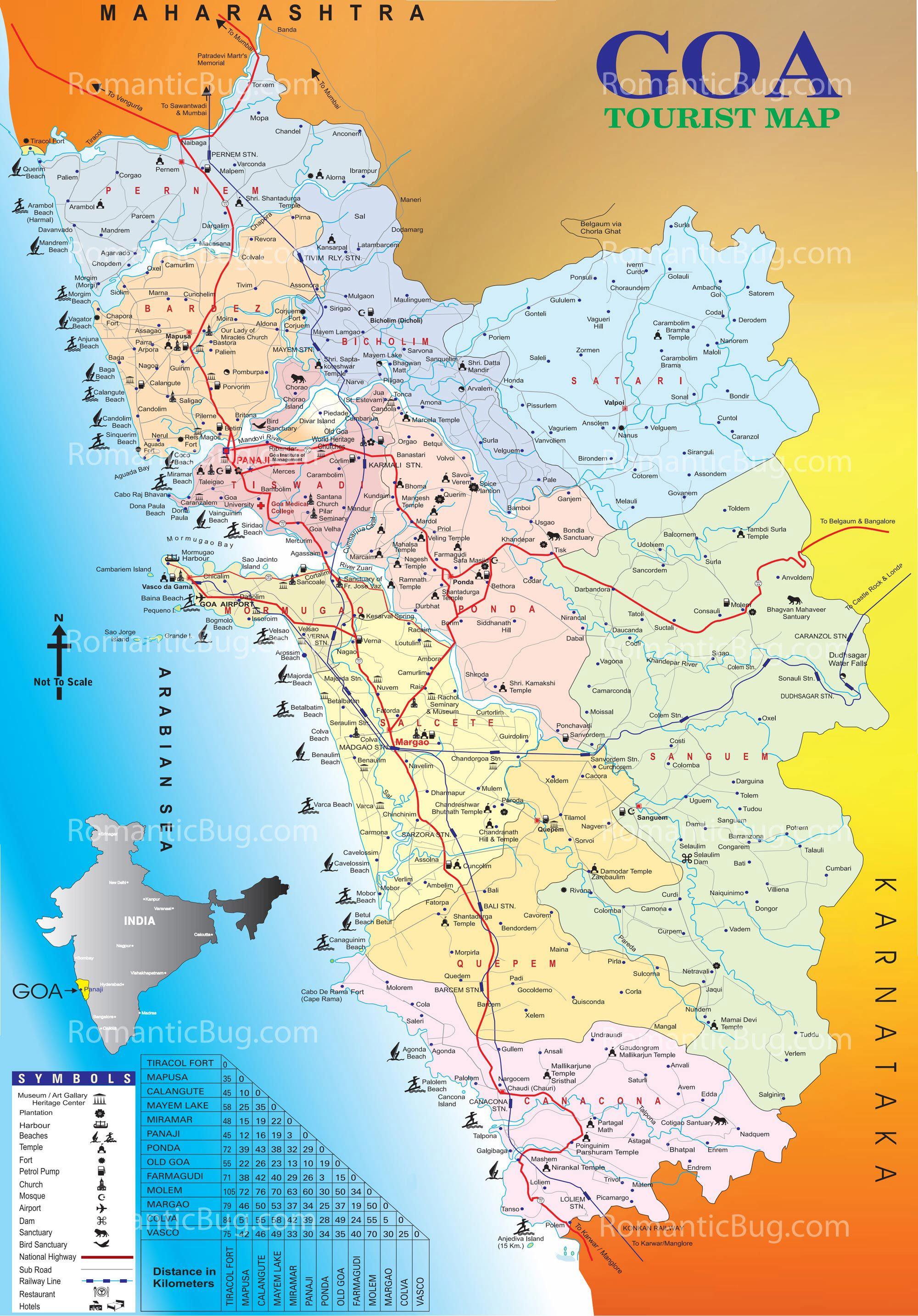Download Free Tourist Map Of Goa Complete Goa Tourism Map